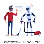 robot housekeeper operated with ... | Shutterstock .eps vector #1076402984