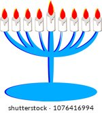 candles are lit  flames ... | Shutterstock .eps vector #1076416994