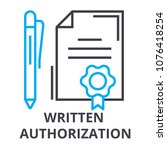 written authorization thin line ... | Shutterstock .eps vector #1076418254