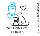 veterinary clinics thin line... | Shutterstock .eps vector #1076418641