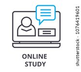 online study thin line icon ... | Shutterstock .eps vector #1076419601