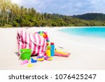 colorful bag packed for sea... | Shutterstock . vector #1076425247