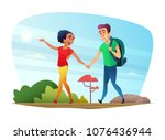 happy couple of lovers has a... | Shutterstock .eps vector #1076436944