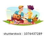 happy couple of lovers has a...   Shutterstock .eps vector #1076437289