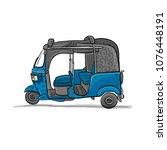 tuktuk  motorbike asian taxi.... | Shutterstock .eps vector #1076448191