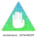 halftone round spot caution...   Shutterstock .eps vector #1076448299
