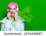 trendy vivid girl with pink... | Shutterstock . vector #1076448887