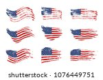vintage waving usa flag set.... | Shutterstock .eps vector #1076449751