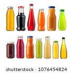 different juice bottles...   Shutterstock . vector #1076454824