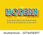 vector of colorful bold font... | Shutterstock .eps vector #1076458397
