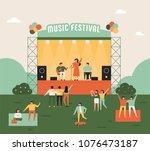 outdoor music festival concept... | Shutterstock .eps vector #1076473187