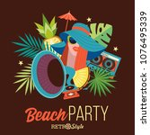 beach retro party. beautiful... | Shutterstock .eps vector #1076495339