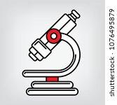 linear vector microscope. ... | Shutterstock .eps vector #1076495879