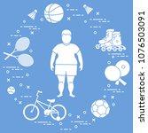 fat boy  badminton rackets and... | Shutterstock .eps vector #1076503091