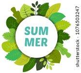green summer leaves under white ... | Shutterstock .eps vector #1076503247