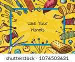 vector frame with hand drawn... | Shutterstock .eps vector #1076503631