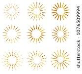 nine style of golden sunburst | Shutterstock .eps vector #1076509994