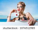 woman in a swimsuit with a... | Shutterstock . vector #1076512985