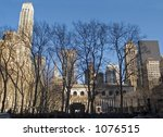 This is a wide angle shot of Bryant Park in Manhattan on a beautiful Winter day. - stock photo
