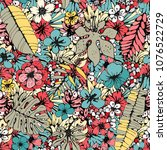 seamless pattern with tropical... | Shutterstock .eps vector #1076522729