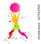 Colorful bright ink splashes and happy person- teenager or man made of them - stock vector