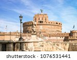 view of castel sant angelo and... | Shutterstock . vector #1076531441