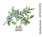 branch tree. blossom. flowers ... | Shutterstock .eps vector #1076531951