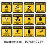 warning  biohazard  uv light ...   Shutterstock .eps vector #1076547239