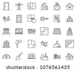 thin line icon set   mortgage... | Shutterstock .eps vector #1076561435