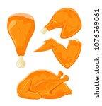 roast turkey or chicken ... | Shutterstock .eps vector #1076569061