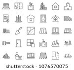 thin line icon set   mortgage... | Shutterstock .eps vector #1076570075