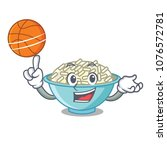 with basketball rice bowl... | Shutterstock .eps vector #1076572781