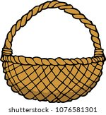 doodle wicker basket on a white ... | Shutterstock .eps vector #1076581301
