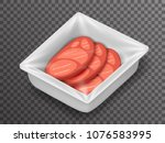 meat isometric disposable food... | Shutterstock .eps vector #1076583995