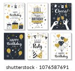 happy birthday greeting card... | Shutterstock .eps vector #1076587691