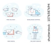 delivery service concept icons  ... | Shutterstock .eps vector #1076587694