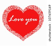 vector heart with text  love... | Shutterstock .eps vector #107659169