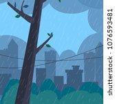 rain landscape. flat style... | Shutterstock .eps vector #1076593481