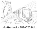 hand drawn sketch subway station | Shutterstock .eps vector #1076593541