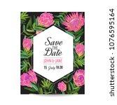 wedding invitation template... | Shutterstock .eps vector #1076595164