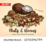 nuts  beans and fruit seeds mix ... | Shutterstock .eps vector #1076596799