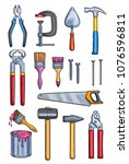 work tools color sketch icons.... | Shutterstock .eps vector #1076596811