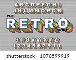 80's retro alphabet font.... | Shutterstock .eps vector #1076599919