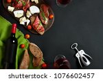 delicious appetizer to wine  ... | Shutterstock . vector #1076602457