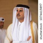 doha  qatar   20 mar 2018  emir ... | Shutterstock . vector #1076615897