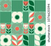 seamless pattern with floral... | Shutterstock .eps vector #1076620394