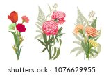 three bouquets red  pink ... | Shutterstock .eps vector #1076629955