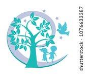 kids playing in the garden of... | Shutterstock .eps vector #1076633387