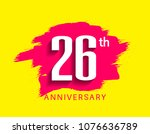 26th anniversary flat design... | Shutterstock .eps vector #1076636789