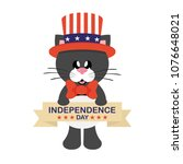 4 july cartoon cute black cat... | Shutterstock .eps vector #1076648021